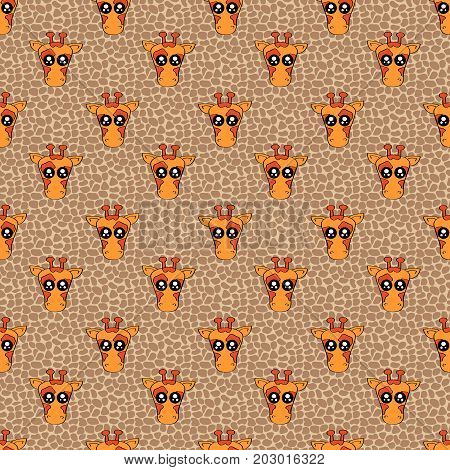 Cute Kids Pattern For Girls And Boys. Colorful Giraffe On The Abstract Background Create A Fun Carto