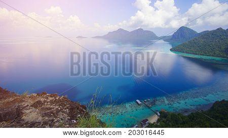 Aerial view of tropical island of Bohey Dulang near Sipadan Island Sabah Borneo Malaysia