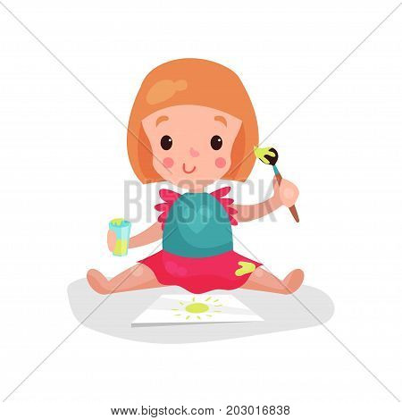 Sweet redhead little girl sitting on the floor painting sun using paint brush cartoon vector Illustration on a white background
