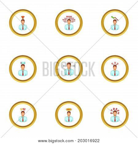 Businessman with hard working icons set. Cartoon set of 9 businessman with hard working vector icons for web isolated on white background