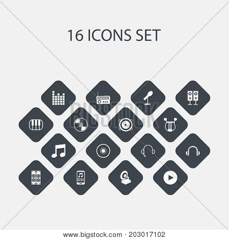 Set Of 16 Editable Melody Icons. Includes Symbols Such As Cd, Synthesizer, Studio Device And More