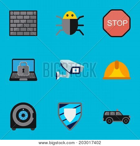 Set Of 9 Editable Procuring Flat Icons. Includes Symbols Such As Hatchback, Security Camera, Lock And More