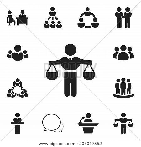 Set Of 12 Editable Business Icons. Includes Symbols Such As Command, Cooperation, Leader