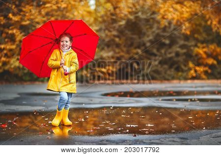 happy child girl with an umbrella and rubber boots on an autumn walk