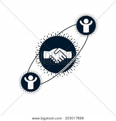 Successful Business creative logo handshake sign vector conceptual symbol isolated on white background. Special and unique sign.