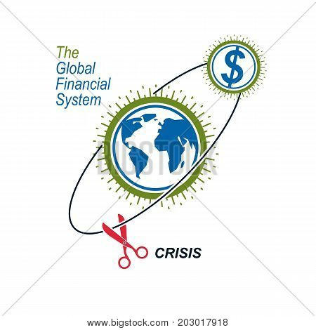 Global Financial Crisis conceptual logo unique vector symbol. Banking system. The Global Financial System. Circulation of Money.