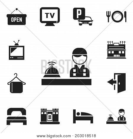 Set Of 12 Editable Hotel Icons. Includes Symbols Such As Check In, Residence, Auto Stand