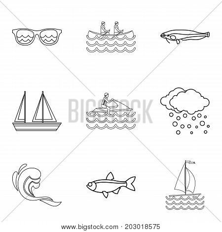 Water creature icons set. Outline set of 9 water creature vector icons for web isolated on white background