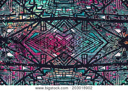 Abstract background. Ethnic ornament on grunge colorful texture. Ethnic geometric wallpaper. Creative vector backdrops. Aztec style illustration. Mexican or brazilian style design.