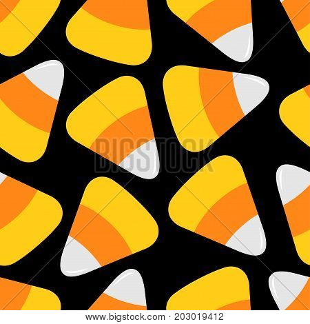 Candy corn big. Happy Halloween Seamless Pattern. Wrapping paper textile template. Flat design. Black background. Vector illustration.