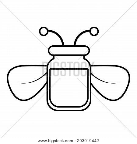 Jar of bee honey icon. Outline illustration of jar of bee honey vector icon for web design isolated on white background