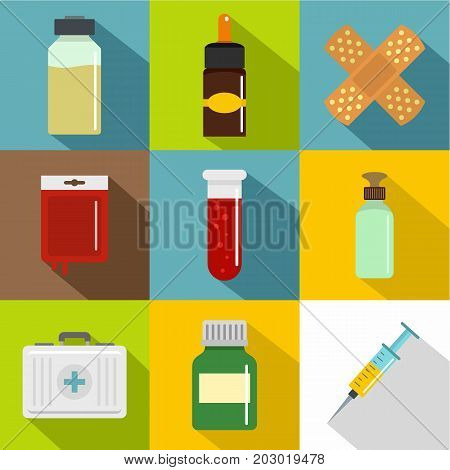 Medical care icon set. Flat style set of 9 medical care vector icons for web design
