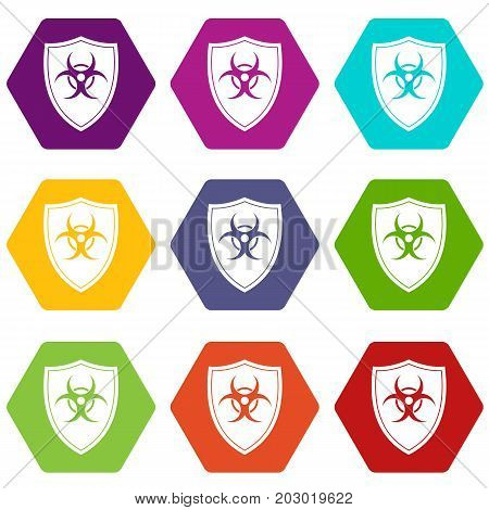 Shield with a biohazard sign icon set many color hexahedron isolated on white vector illustration