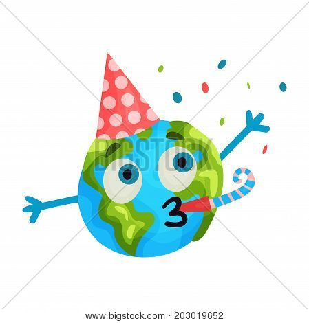 Cute cartoon funny Earth planet emoji wearing party hat blowing a noisemaker, humanized globe character with emotions colorful vector Illustration on a white background
