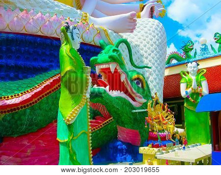 The detail of Wat Plai Laem temple with 18 hands God statue Guanyin , Koh Samui, Surat Thani, Thailand.