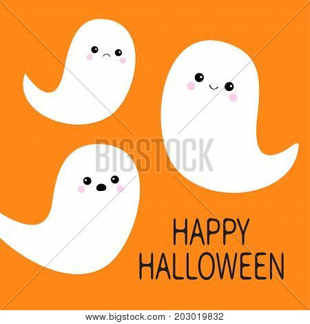 Happy Halloween. Flying ghost spirit set. Three scary white ghosts. Cute cartoon spooky character. Smiling Sad face. Orange background. Greeting card Isolated. Flat design. Vector illustration