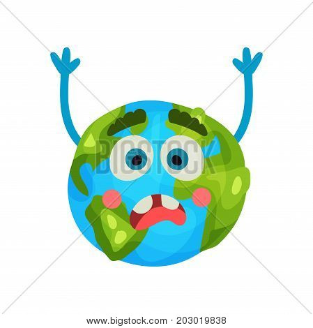 Cartoon frightened Earth planet emoji raising hands, , humanized globe character with emotions colorful vector Illustration on a white background