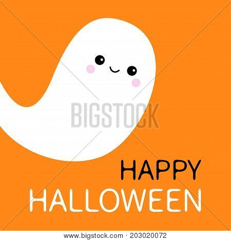 Flying ghost spirit. Happy Halloween. Scary white ghosts. Cute cartoon spooky character. Smiling face. Orange background. Greeting card Isolated. Flat design. Vector