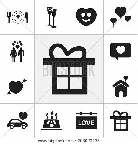 Set Of 12 Editable Amour Icons. Includes Symbols Such As Love Message, Joy, Happy And More