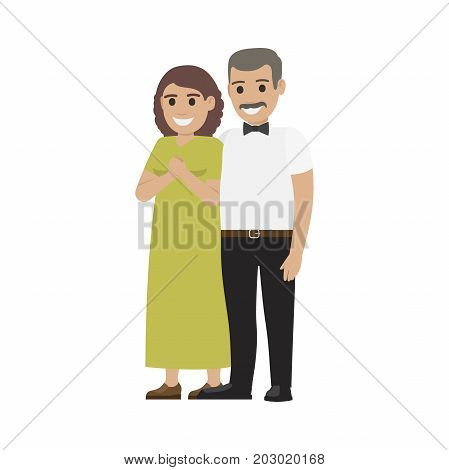 Middle-aged pair standing together flat vector. Smiling spouses characters in elegant clothes isolated on white background. Happy parents-in-law illustration for wedding and family holidays concepts