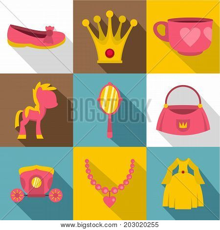 Princess fairy tail icon set. Flat style set of 9 princess fairy tail vector icons for web design