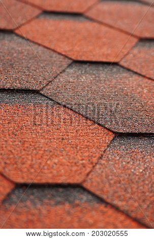 Asphalt shingles roof tiling texture macro photo