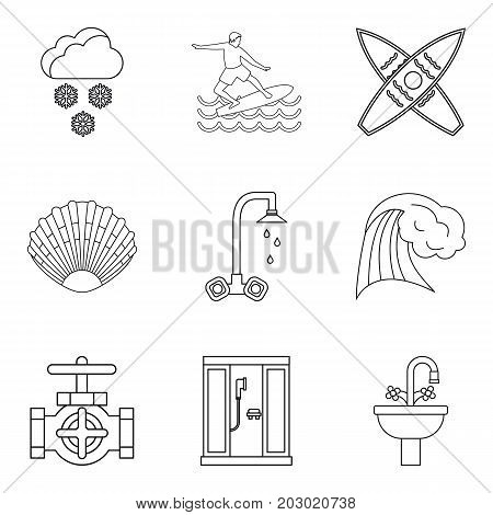 Water activity icons set. Outline set of 9 water activity vector icons for web isolated on white background