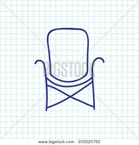 Vector Illustration Of Camping Symbol On Chair Doodle