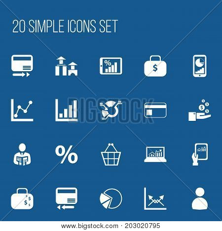 Set Of 20 Editable Statistic Icons. Includes Symbols Such As Trading Purse, Pie Graphic, Graph Information And More