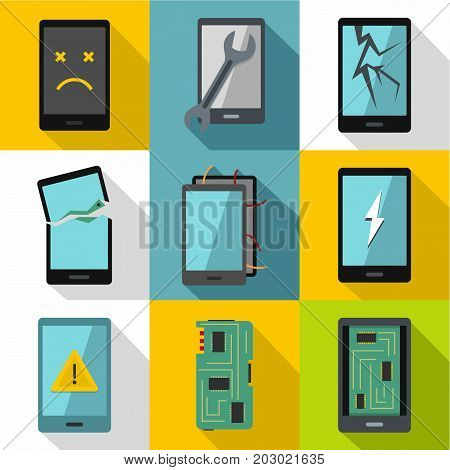 Broken phones fix icon set. Flat style set of 9 broken phones fix vector icons for web design