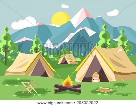 Stock vector illustration cartoon nature national park landscape three tents with backpack, bonfire, open fire snack sandwiches camping hiking daytime sunny day outdoor background mountains flat style