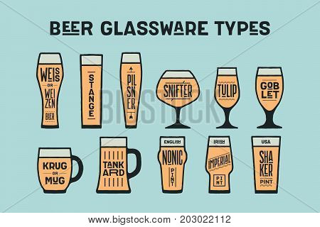 Beer glassware types. Poster or banner with different types of glass and mug for beer. Colorful graphic design for print, advertising. Poster for bar, pub, restaurant, beer theme. Vector Illustration