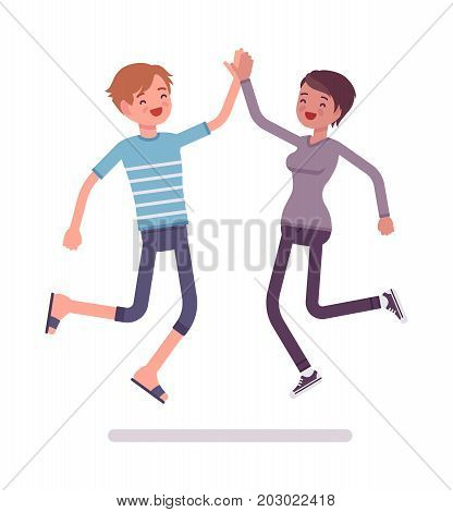 Young man, woman jumping giving high five. People have common interests, spending time together. Friendship and social life concept. Vector flat style cartoon illustration, isolated, white background