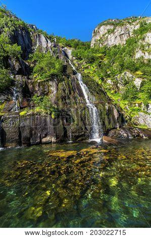 Waterfall Trollfjord (trollfjorden) In The Lofoten Islands, Norway