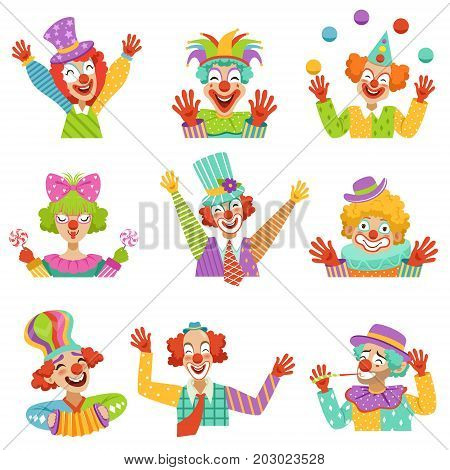 Happy cartoon friendly clowns character colorful vector Illustrations on a white background