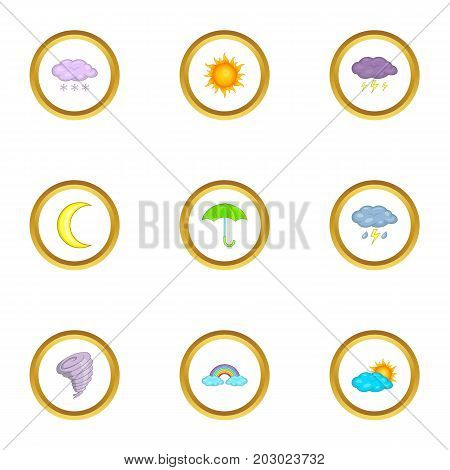 Weather icons set. Cartoon set of 9 weather vector icons for web isolated on white background