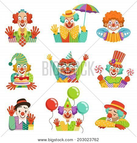 Funny cartoon friendly clowns character colorful vector Illustrations on a white background