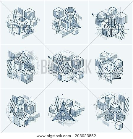 Abstract 3d shapes compositions vector isometric backgrounds. Compositions of cubes hexagons squares rectangles and different abstract elements. Vector collection.
