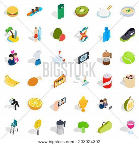 Energetic icons set. Isometric style of 36 energetic vector icons for web isolated on white background