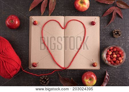 Autumn composition with leaves, apples, an old empty book and a heart made of red yarn in it.