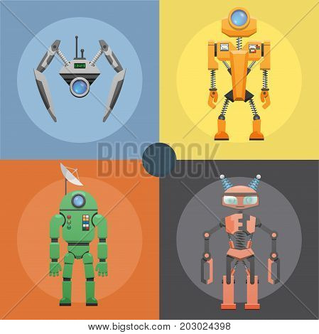 Set of metallic robots or droids on four icons. Cartoon cards of mechanical or electronic device with dish antenna, many buttons, horns for receiving signal vector illustration flat design.