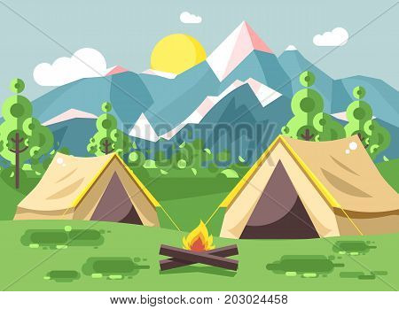 Stock vector illustration cartoon nature national park landscape with two tents camping hiking bonfire, open fire, bushes lawn, trees, daytime sunny day outdoor background of mountains in flat style