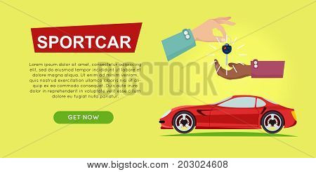 Buying sportcar online car sale web banner vector illustrayion. Encouraging customers to buy sportcar. Transport advertising company e-commerce concept. Business agreement of getting new key of car.