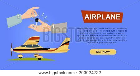 Buying airplane online plane sale web banner vector illustration. Encouraging customers to buy airplane. Transport advertising company e-commerce concept. Business agreement of getting new key.