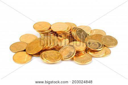 Gold Thai baht money Thai coin Money thai coins ( bath) staircase sorted. King of Thailand. savings Busines successful.