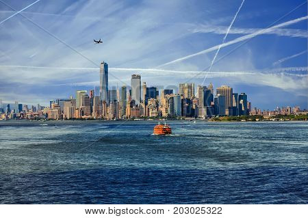 New York City with Ferries and Planes from Harbor