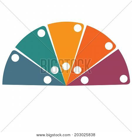 Flat template infographic color semicircle for 5 positions