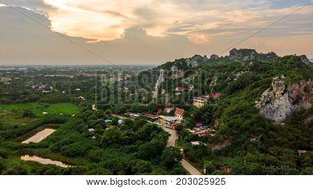 Aerial View Wat Tum Chang Tasala Province Lopburi thailand Unseen Lopburi
