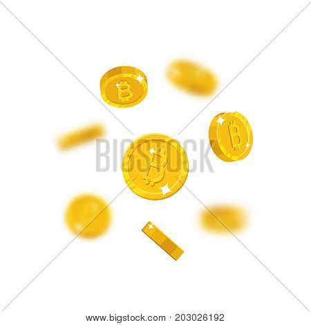Gold bitcoins flying cartoon isolated. Gold bitcoins with the effect flying in the air in a cartoon style for designers and illustrators. Floating pieces in the form of vector illustrations