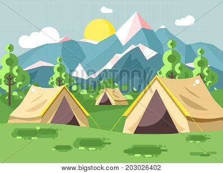 Stock vector illustration cartoon nature national park landscape with three tents camping hiking rules of survival bushes, lawn, trees, daytime sunny day, outdoor background of mountains in flat style